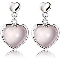 New Womens 925 Sterling Silver Pink Crystal Rose Quartz Heart Ear stud Earrings
