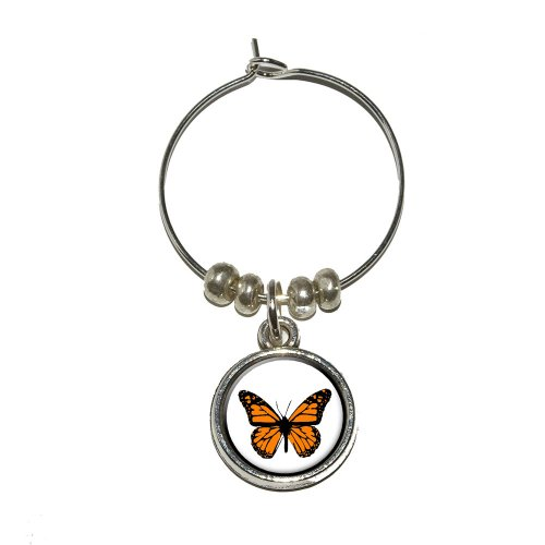 Monarch Butterfly Wine Glass Charm Drink Stem Marker Ring - Monarch Metal Tags