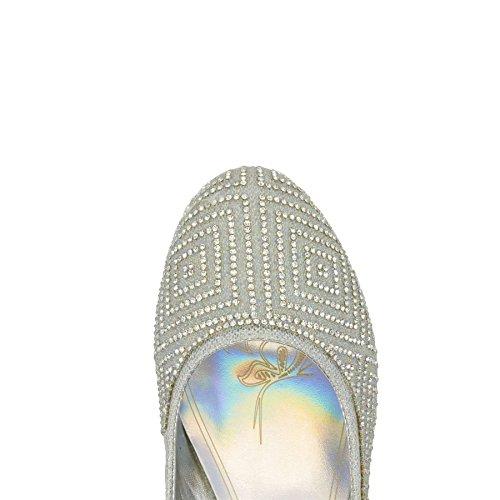 Womens Slip UK 3 Ladies Heels On Pumps Wedding Shoes Diamante Silver 9 New Court Bridal gwAag