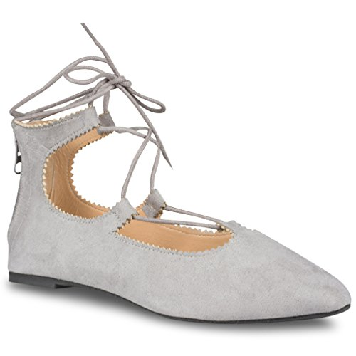 Up Lace Flats Lace (Twisted Womens LINDSAY Faux Suede Almond Toe Lace Up Flats - GREY, Size 6)