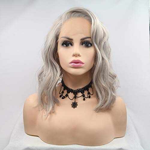 FESHFEN 15 Inch Silver Platinum Gray Lace Front Wig Short Bob Natural Wavy Free Part Synthetic Replacement Hair Grey Wigs Soft Heat Resistant Wigs for Women Girls ()