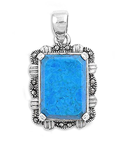 Pendant Simulated Turquoise Simulated Marcasite .925 Sterling Silver Charm - Silver Jewelry Accessories Key Chain Bracelet Necklace Pendants