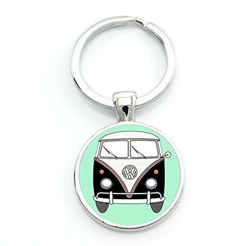 Key Chains - Exquisite Handmade Glass gem Hippie Peace Sign Van Bus Mens Keychain Pendant car ke ychain Ring Holder CT106 - by ptk12-1 PCs