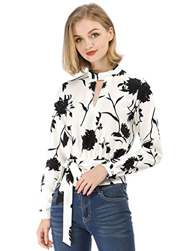 - Allegra K Women's Choker V Neck Long Sleeves Tie Smocked Waist Cropped Floral Blouse Tops XS White