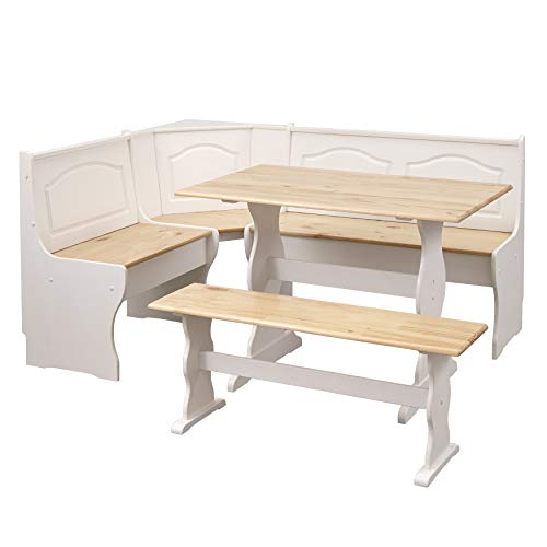 The Mezzanine Shoppe 25513NWH Knox Modern 3 Piece Corner Dining Nook Set Natural/White