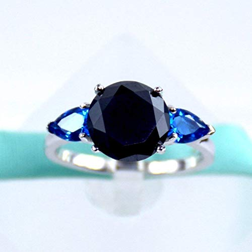 (Black Moissanite Diamond, Blue Pear Sapphire, Platinum Plated 925 Sterling Silver, Three Stone Ring, Daily Ring, Engagement Ring, Promise Ring, Women Rings, 2MM Band)