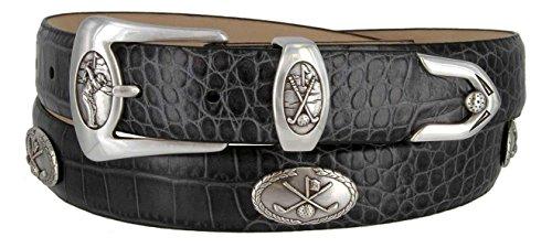 (BC3109 - Men's Italian Calfskin Designer Dress Belt with Golf Conchos (36 Alligator Gray))