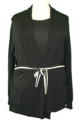 - Marina Rinaldi by MaxMara Kinston Black 2-PC Sweater w/Cardigan XL