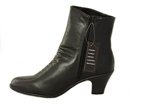 Stiefel für Damen Schwarz Kunstleder mit Blockabsatz