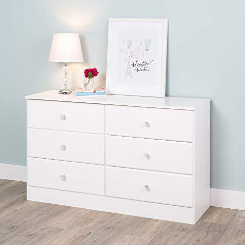 Prepac WDBR-0402-1-V Astrid Acrylic Knobs, 6-Drawer Dresser Crystal White ()