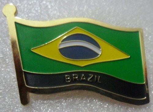 (Metal Brass Alloy Lapel Pin Country National Flag Logo Soft Enamel Emblem Badge Button Safety butterfly clutch (Brazil))
