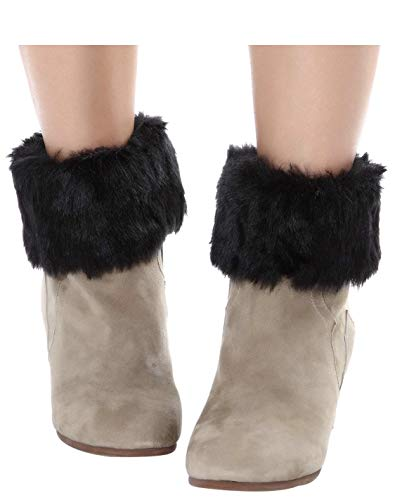 ELLITE Women's Winter Faux Fur Boot Cuff Knitting Leg Warmers -