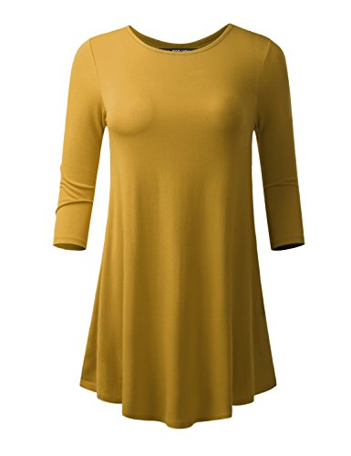 Yellow Tunic Shirt (ALL FOR YOU Women's 3/4 Sleeve Flare Hem Tunic Mustard)