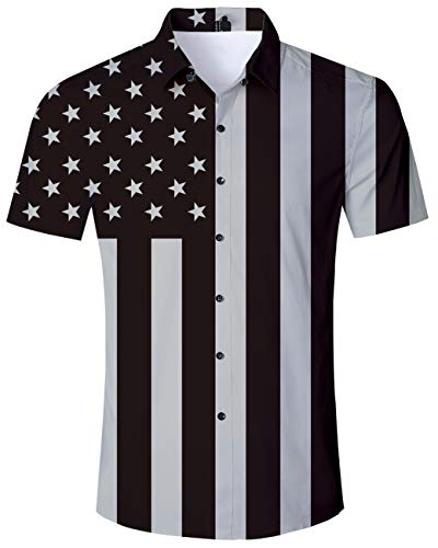 Men Short Sleeves Button Down Aloha Polo Funky Brunet Black Grey Patriotic USA Flag Vintage Youth Male Shirts 3D American Flag Shirt XL ()