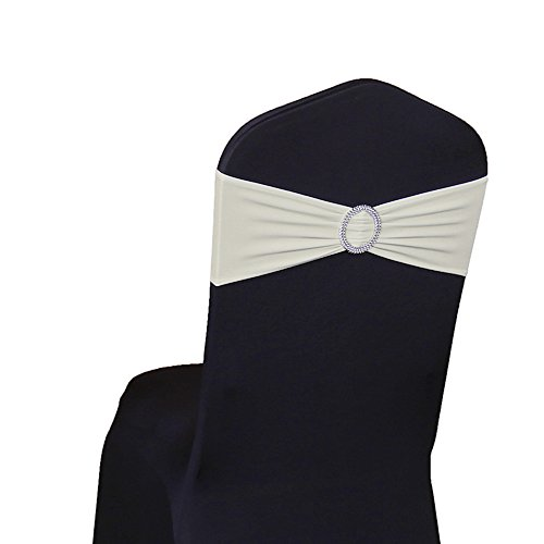 SINSSOWL 100PCS Stretch Wedding Chair Bands with Buckle Lycra Slider Sashes Bow Decorations 25 Colors (Ivory) ...