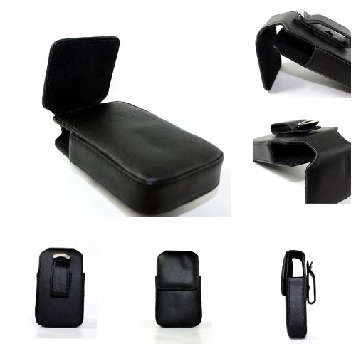 Premium Quality Black Leather Case Cover Holster with Belt Clip for Blackberry 8300 8310 8320 8330 Curve Cellular Phone Accessory