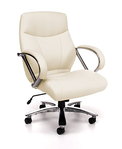 OFM Avenger Series Big and Tall Leather Executive Chair - Black Mid Back Computer Chair with Arms, Cream (811-LX-CRM)