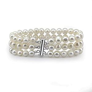 3-Row White A Grade 6.5-7mm Freshwater Cultured Pearl Bracelet, 7.5