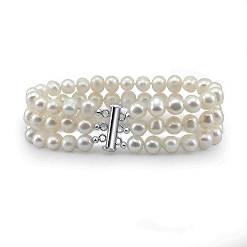 pearlpro Bracelet Femme-Une perle de qualité 6,57mm 3rangées, 20,3cm