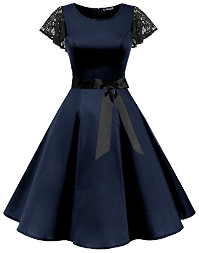Coaktail Retro BeryLove 50s Sleeves Navy Dresses Swing Party Vintage Rockabilly Women's Lace fnnXRwS8