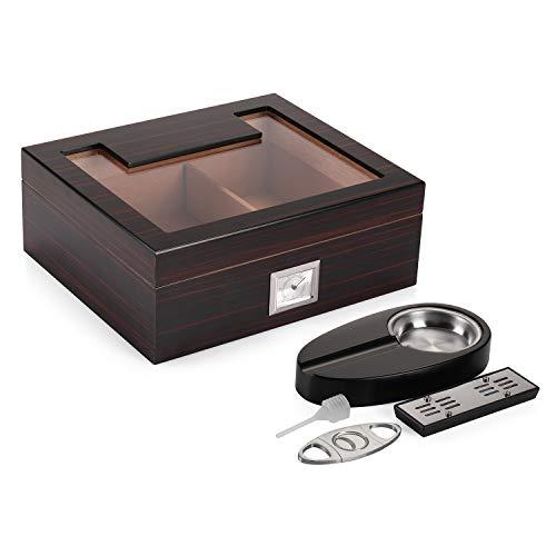 $64.99 daniel marshall humidor Woodronic Glasstop Cigar Humidor Set, Ebony Finished Spanish Cedar Wood Lined for 35-50 Cigars, Desktop Display Cigar Box Set with Ashtray, Cutter, Hygrometer and Humidifier 2019