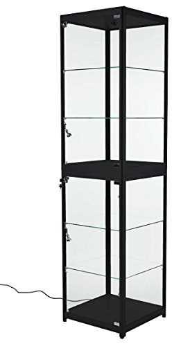 Displays2go Tower Showcase with LED Lighting, Aluminum, Tempered Glass, 5 Shelves – Black Finish (2TCASEBLKS) by Displays2go