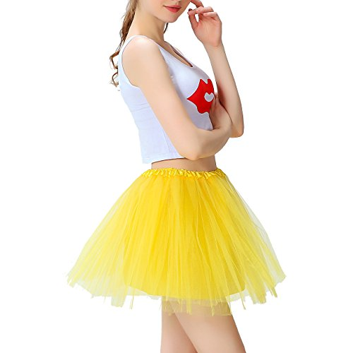Mini 80s Organza Gonna Elastic Dress Colori Adulto Balletti Ragazza Innobase Donna Tutu Danza Brillante Giallo 8 A Strati 1w0CqdC