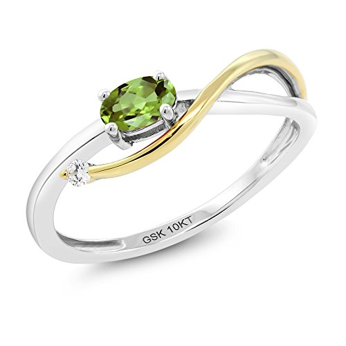 Gem Stone King 10K 2-Tone Gold Green Peridot and Diamond Engagement Ring 0.28 Ctw (Size 8)