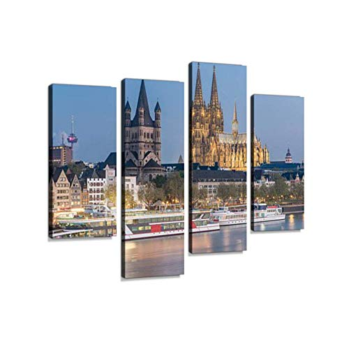 LanimioLOX Aerial View Over The Rhine River in Cologne, GermanyCanvas Wall Art Hanging Paintings Modern Artwork Abstract Picture Prints Home Decoration Gift Unique Designed Framed 4 Panel (Framed Rhine River)