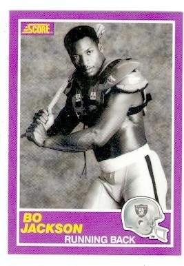 Bo Jackson Football Card (Los Angeles Raiders Baseball Bat) 1989 Score #384S