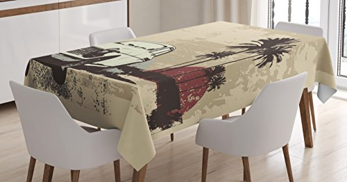 Vintage Tablecloth by Ambesonne, Old Classic American Car with Hawaiian Miami City like Retro Backdrop, Dining Room Kitchen Rectangular Table Cover, 60W X 84L Inches, Tan Coconut Dried (Party City Miami Lakes)