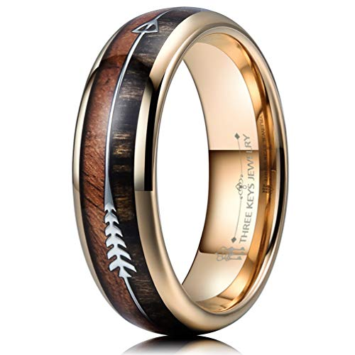 THREE KEYS JEWELRY 6mm Rose Gold Tungsten Wedding Ring with Koa Wood Zebra Wood Two Arrows Inlay Dome Hunting Ring Wedding Band Engagement Ring Size 8 -