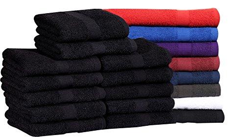 Cotton Salon Towels (24-Pack, Black,16x27 inches) - Soft Absorbent Quick Dry Gym-Salon-Spa Hand Towel (Black) (100%
