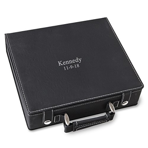Personalized Black - Silver 100 Chip Poker Set - 2Lines
