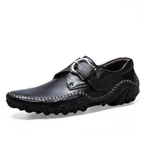 Les Respirant Glisser à Mocassins en Chaussures Hommes de Mocassins Noir sur Main la Conduite Véritable Chaussures Faits Cuir Esthesis xq7avwS1q