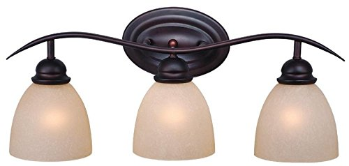 BB Avalon 3 Light Bathroom Vanity Lighting Fixture in Bronze, Glass (Avalon Toilet)