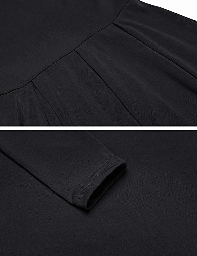 Women ELESOL and line Dress A Knee Sleeve Fit Fall Black Cotton Long Flare Pleated Length gdwnxqABdr