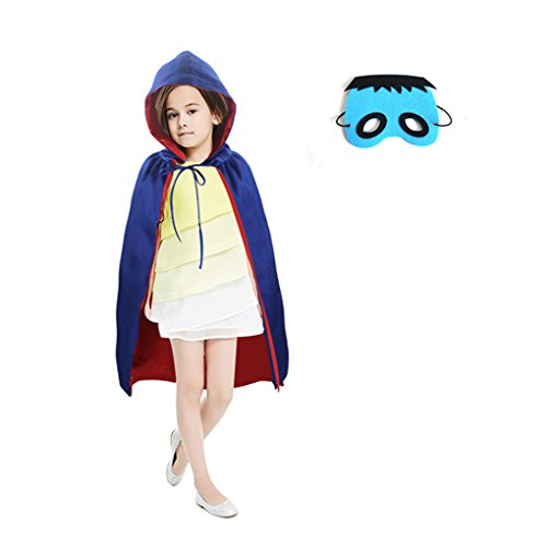 Hooded Black Costume Cape Robe Child Boys Girls Vampire Witch Dracula