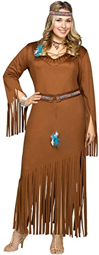 [Fun World Women's Plus Size Indian Summer Costume, Brown, XX-Large] (Lady Reaper Adult Plus Size Costumes)