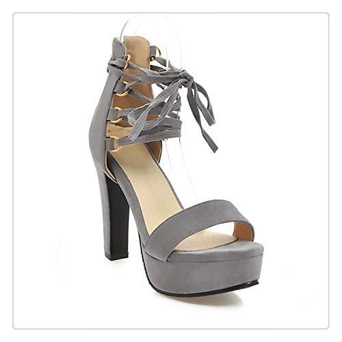 Strap Hyper Rubber (TNGWA& High Heels Sandals Women Open Toe Footwear Party Platform Shoes Female Flock Cross Strap Shoes Woman Summer 2019 New Gray 5)