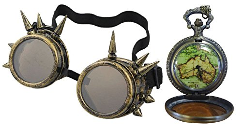Gothic Brass Spike Goggles + New World Australian Fob Pendant - Of World Watches Sunglasses