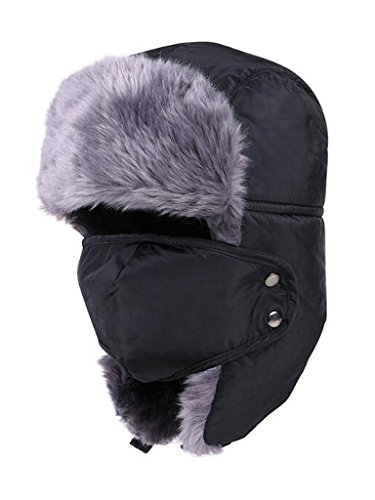 PERSUN Russian Style Winter Fake Fur Aviator Ushanka Hat with Windproof Mask