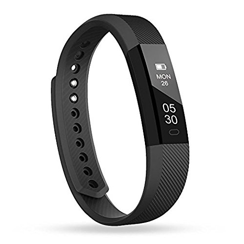 Fitness Tracker, Activity Smart Wristband, Sleep Monitor, Steps/Calorie and Distance Counter Pedometer for Android or iOS Phone, Bluetooth Bracelet Gifts for Kids Women Men (Alarm Watch For Deaf)