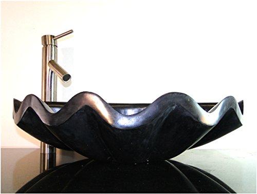 Black Marble Sea Shell Basin Vessel Sink Bathroom Counter Top