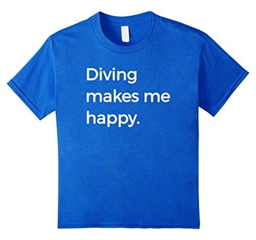 Diver Kids T-shirt (Kids Diving Makes Me Happy T-Shirt Sports High Dive Diver Tee 8 Royal Blue)