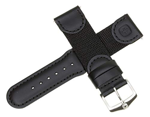 New 20mm Wenger Swiss Army Genuine Black Leather Strap Black Nylon Watch Band ()