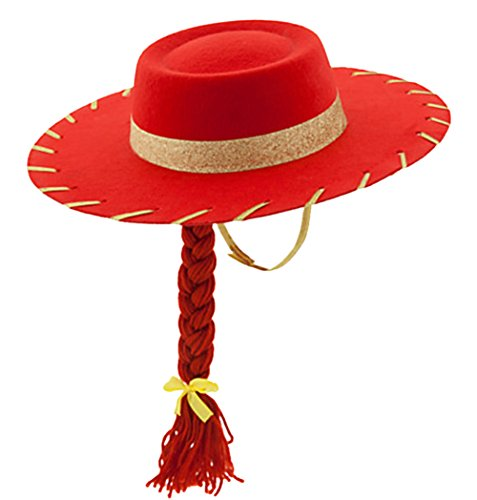 Toy Story Jessie Costume Accessories (Toy Story 3 Jessie the Cowgirl Red Sparkle Cowboy Hat with Braid)
