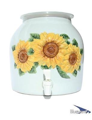 Bluewave Embossed Sunflower Design Water Dispenser Crock