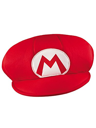 (Disguise Men's Nintendo Super Mario Bros. Mario Adult Hat Costume, Red/White, One)