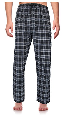RK Classical Sleepwear Men's 100% Cotton Flannel Pajama Pants,Black / Gray, Plaid (F0153),Large (Set Pants Pajama Flannel)